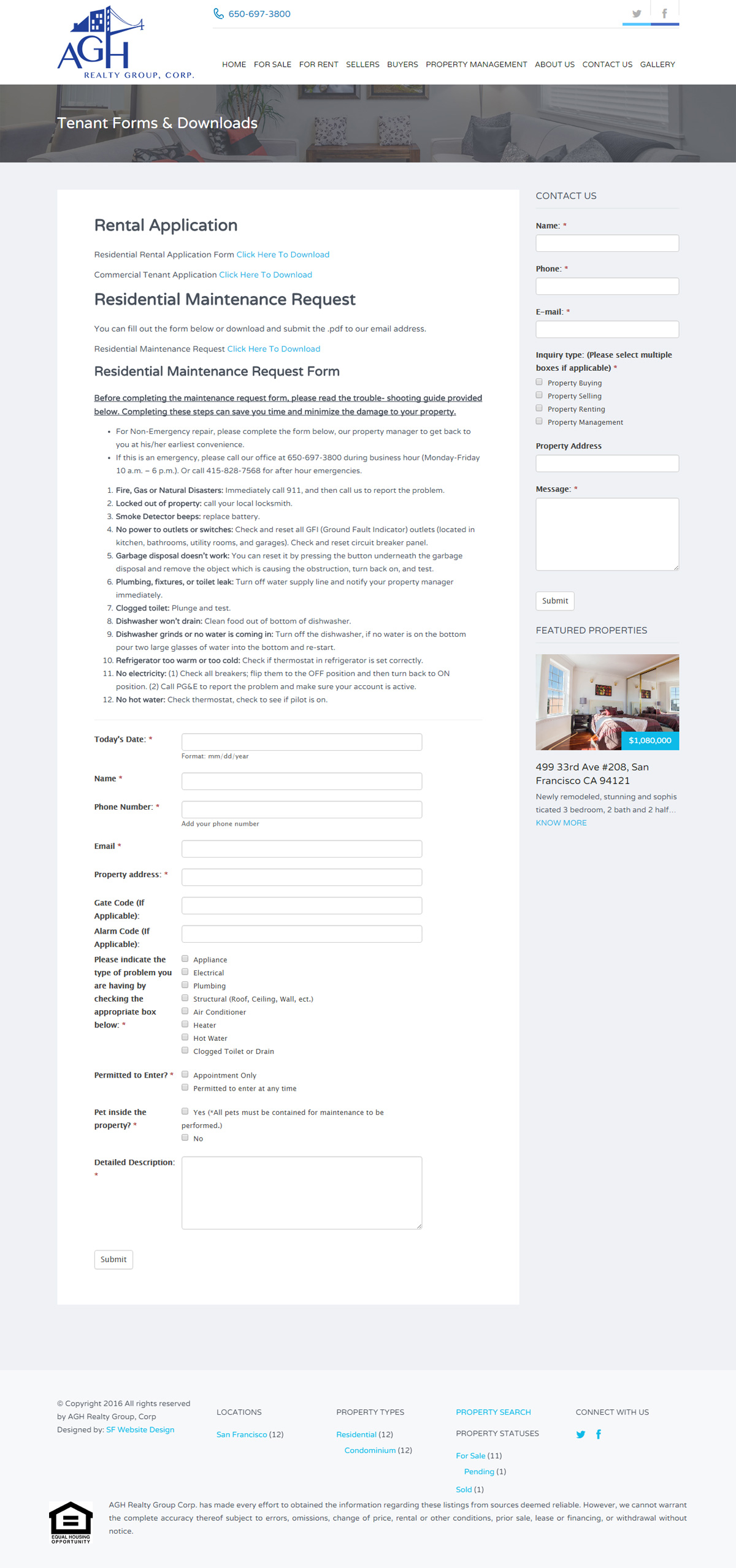 AGH Realty Group Tennant Application Form