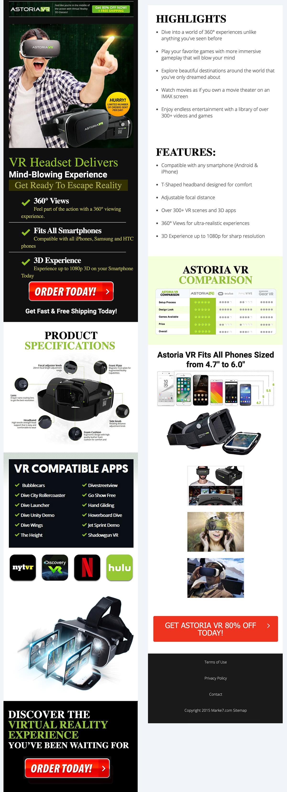 Astoria VR affiliate web design mobile view