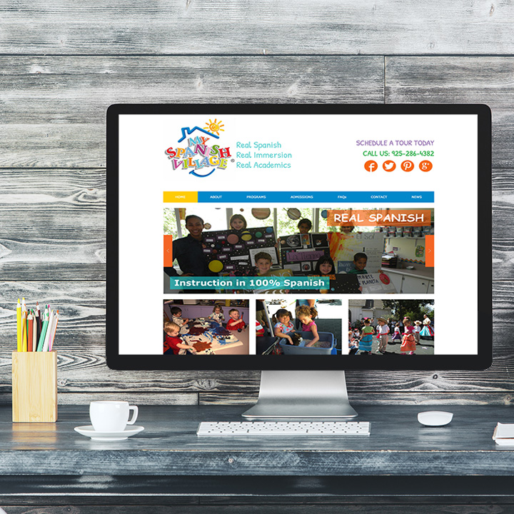 spanish immersion preschool mockup web design