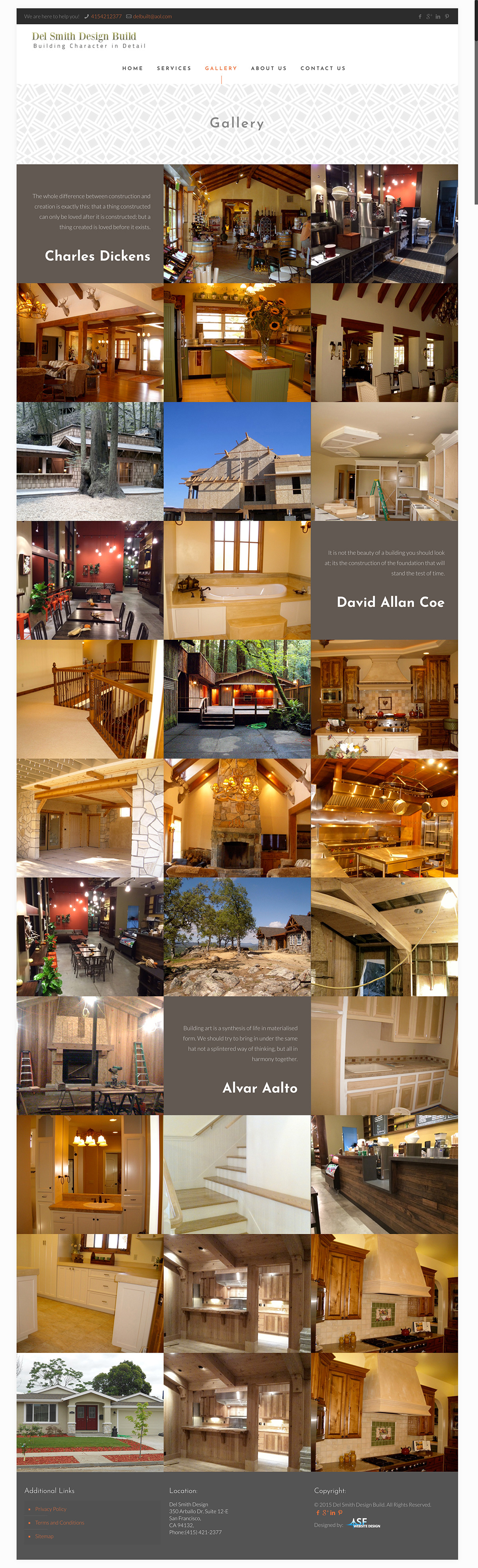 Del Smith Design Build gallery page design