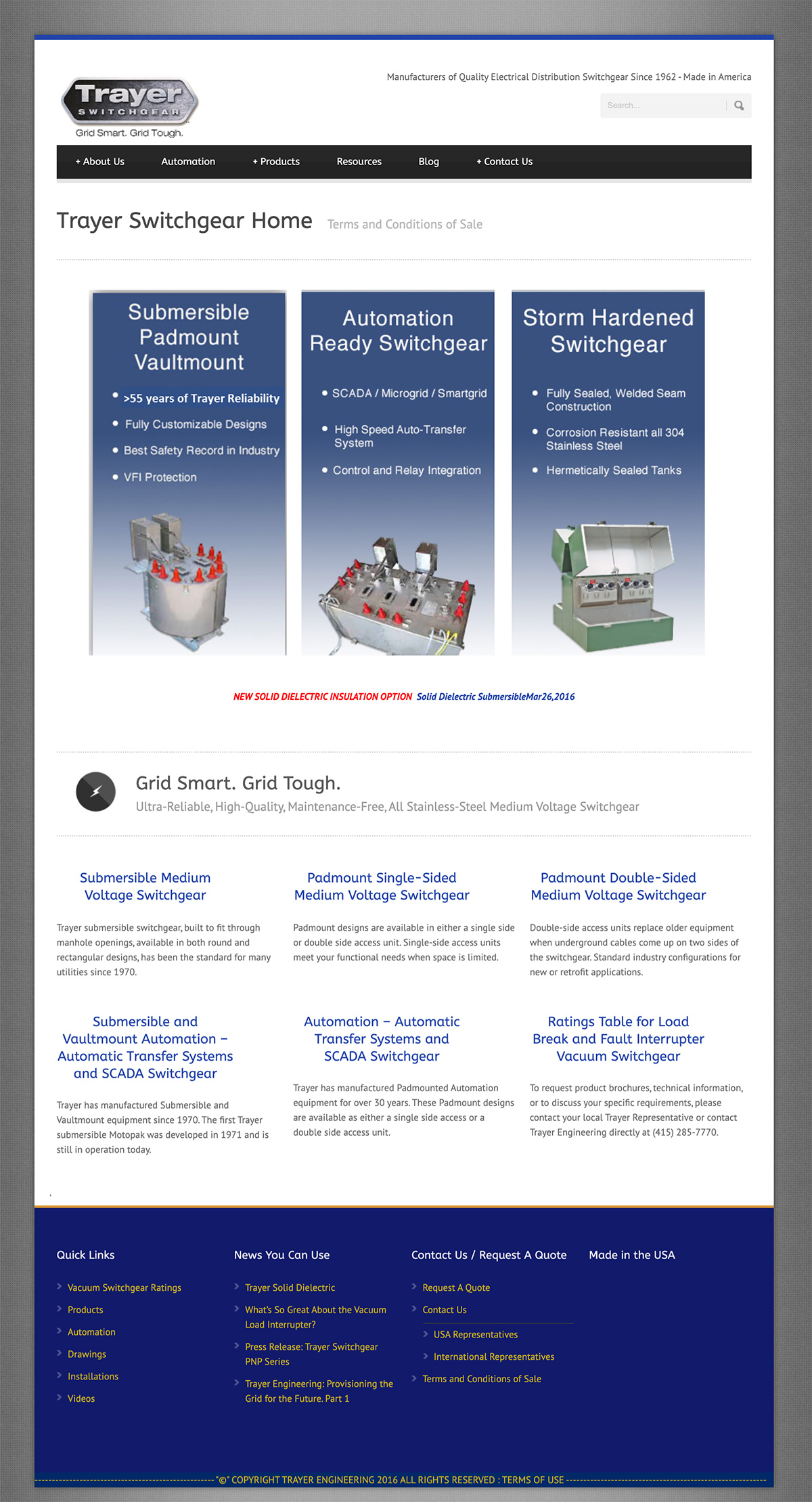 Trayer Engineering Corporation company web design before after original design
