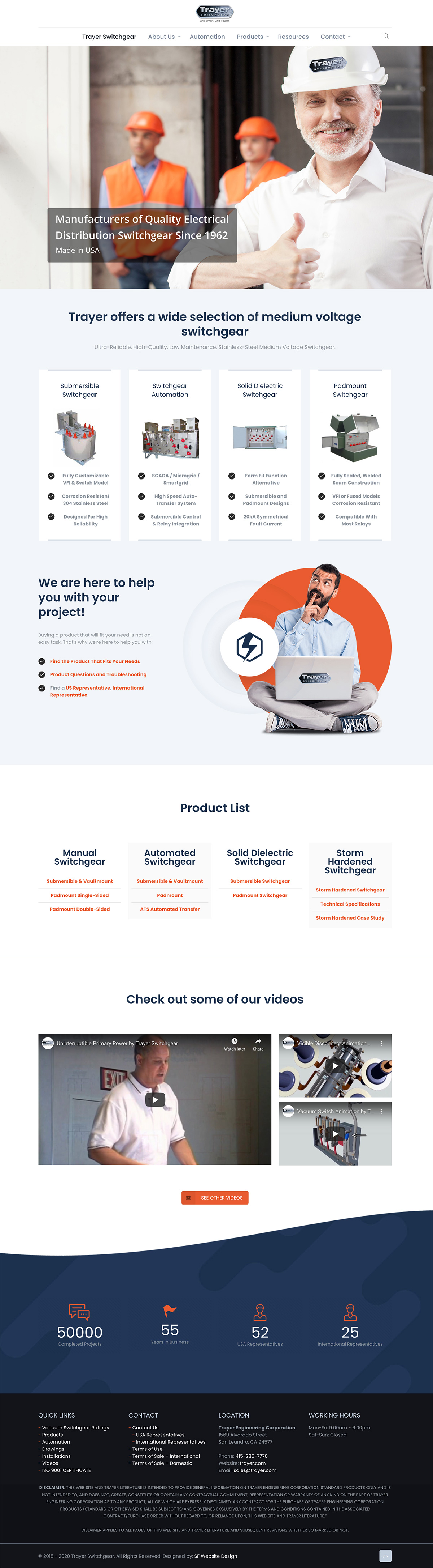 Trayer Engineering company web design