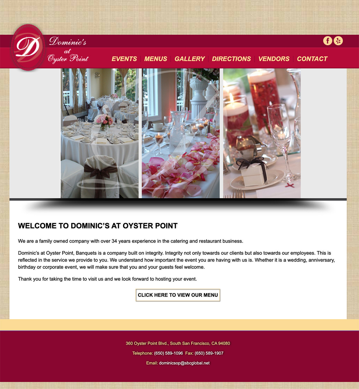 Before Dominics at Oyster Point South San Francisco website redesign