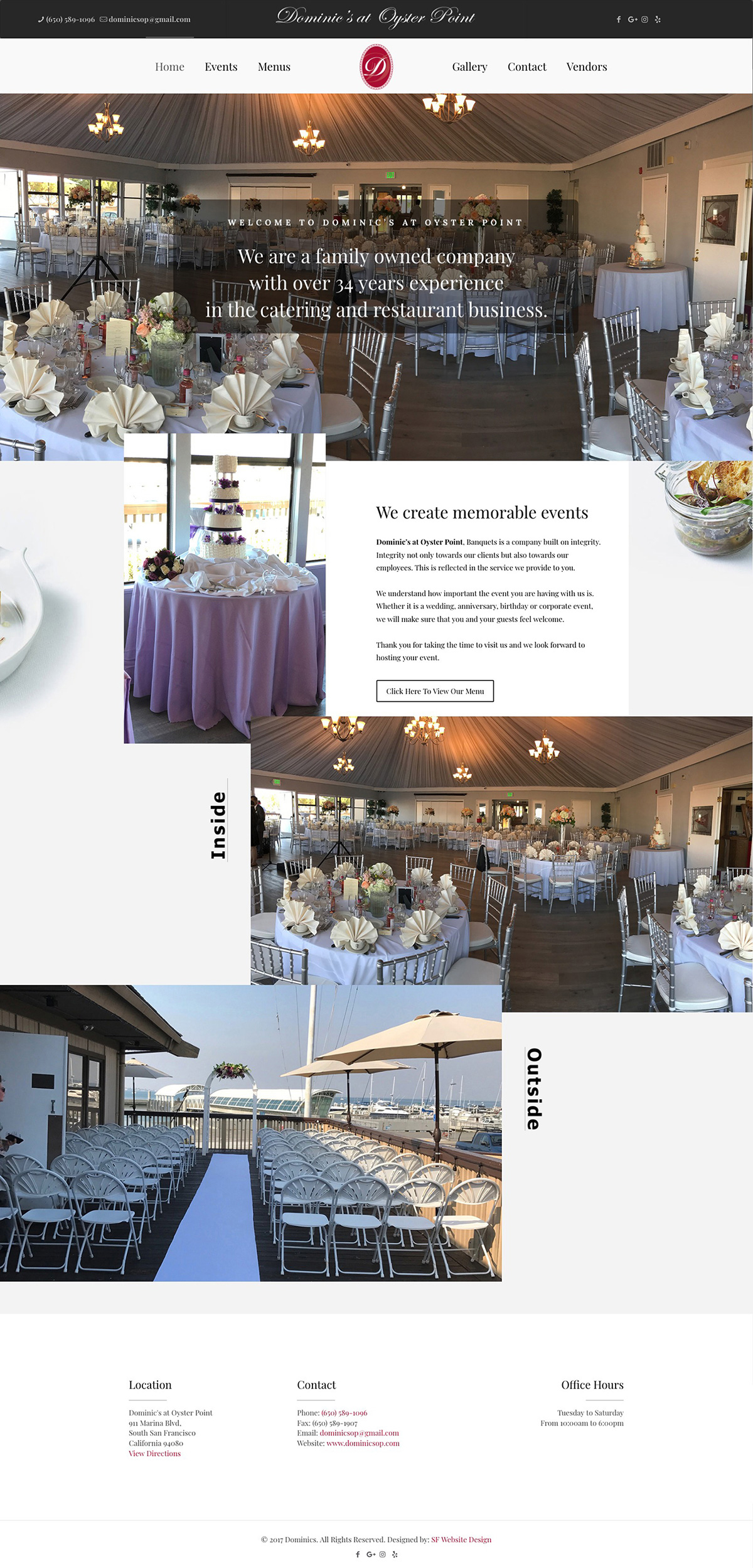 Dominics at Oyster Point South San Francisco website redesign