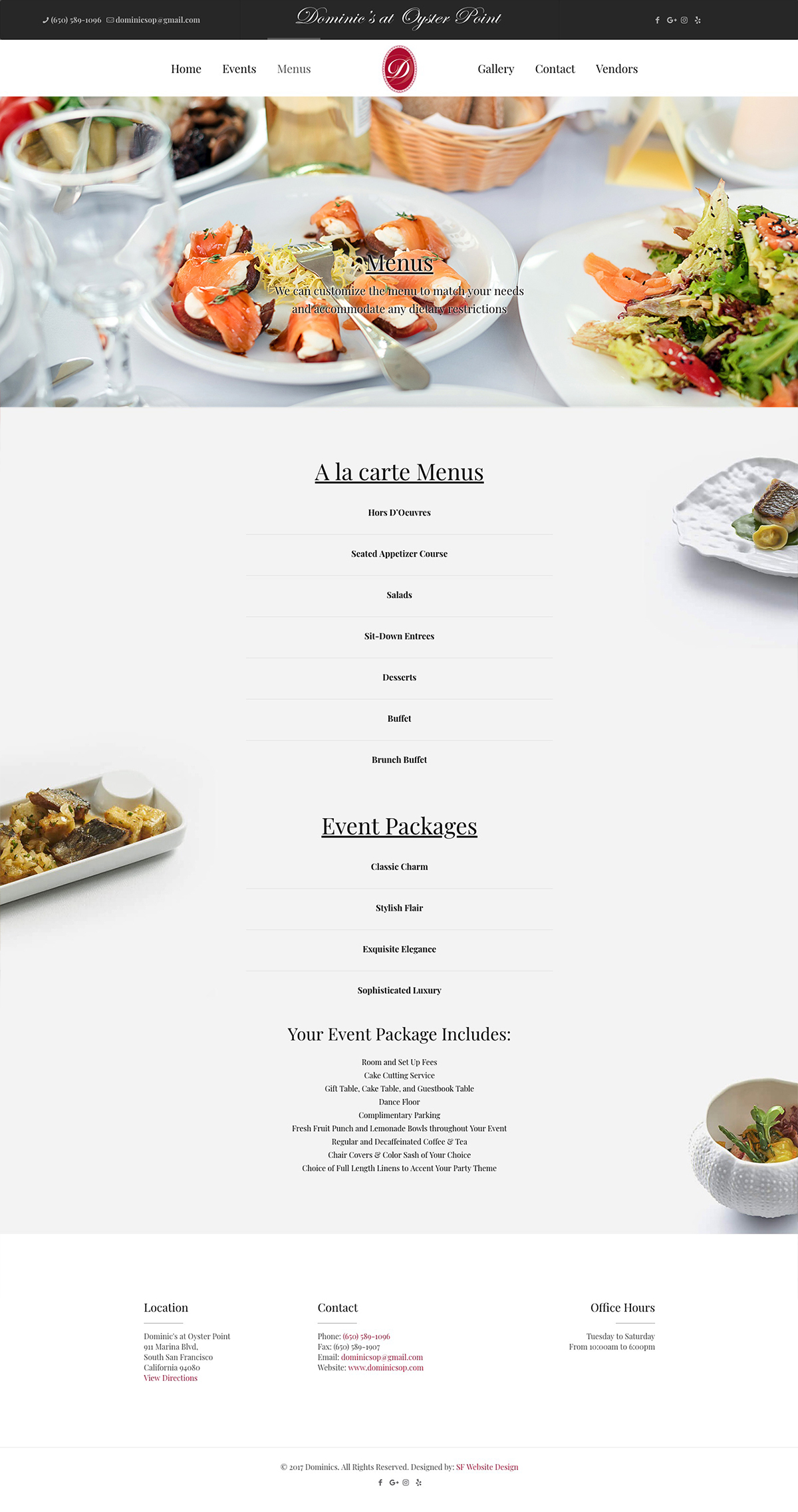 Dominics at Oyster Point menu design