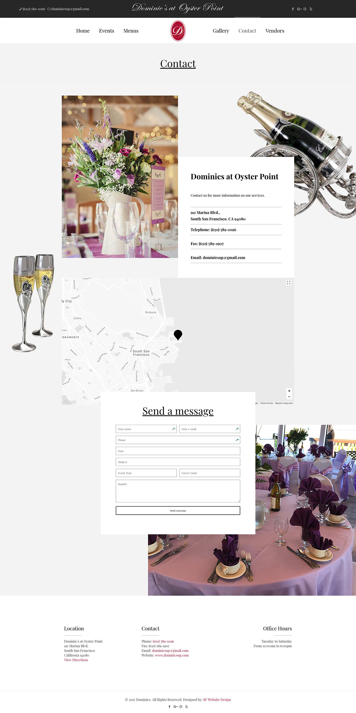 Contact page design - Dominics at Oyster in South San Francisco