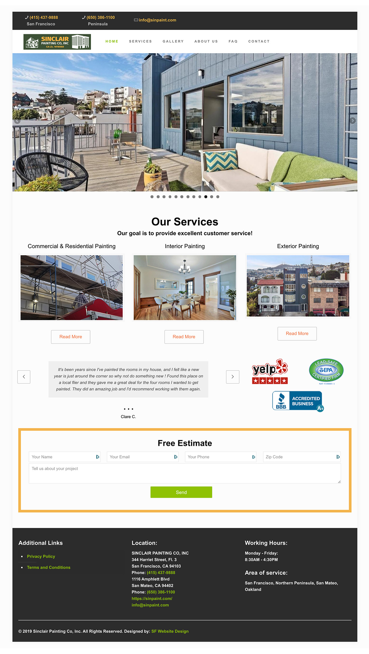 Sinclair San Francisco Residential and Commercial painting web design