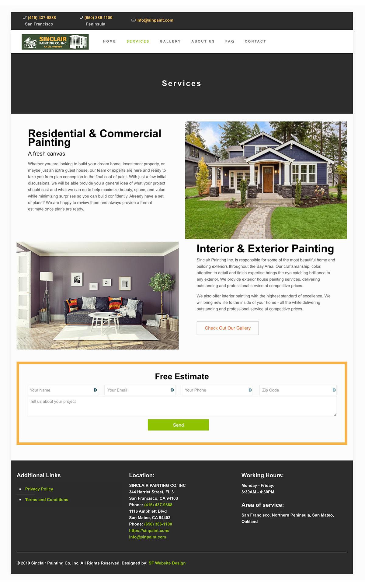 Services Sinclair painting website design