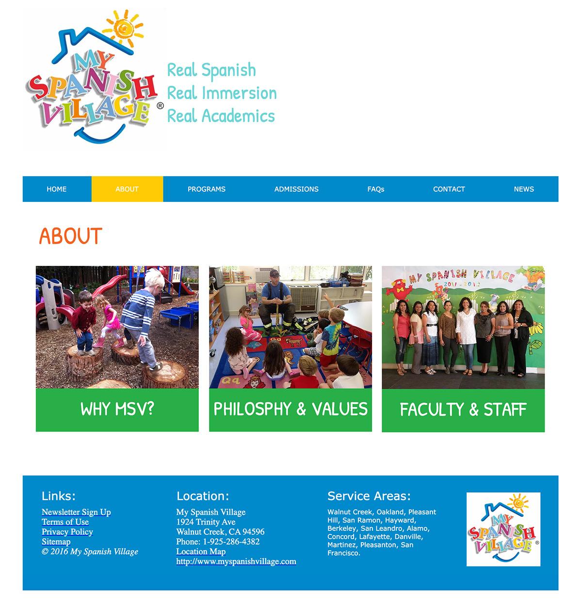 About My Spanish Village Spanish preschool web design Walnut Creek