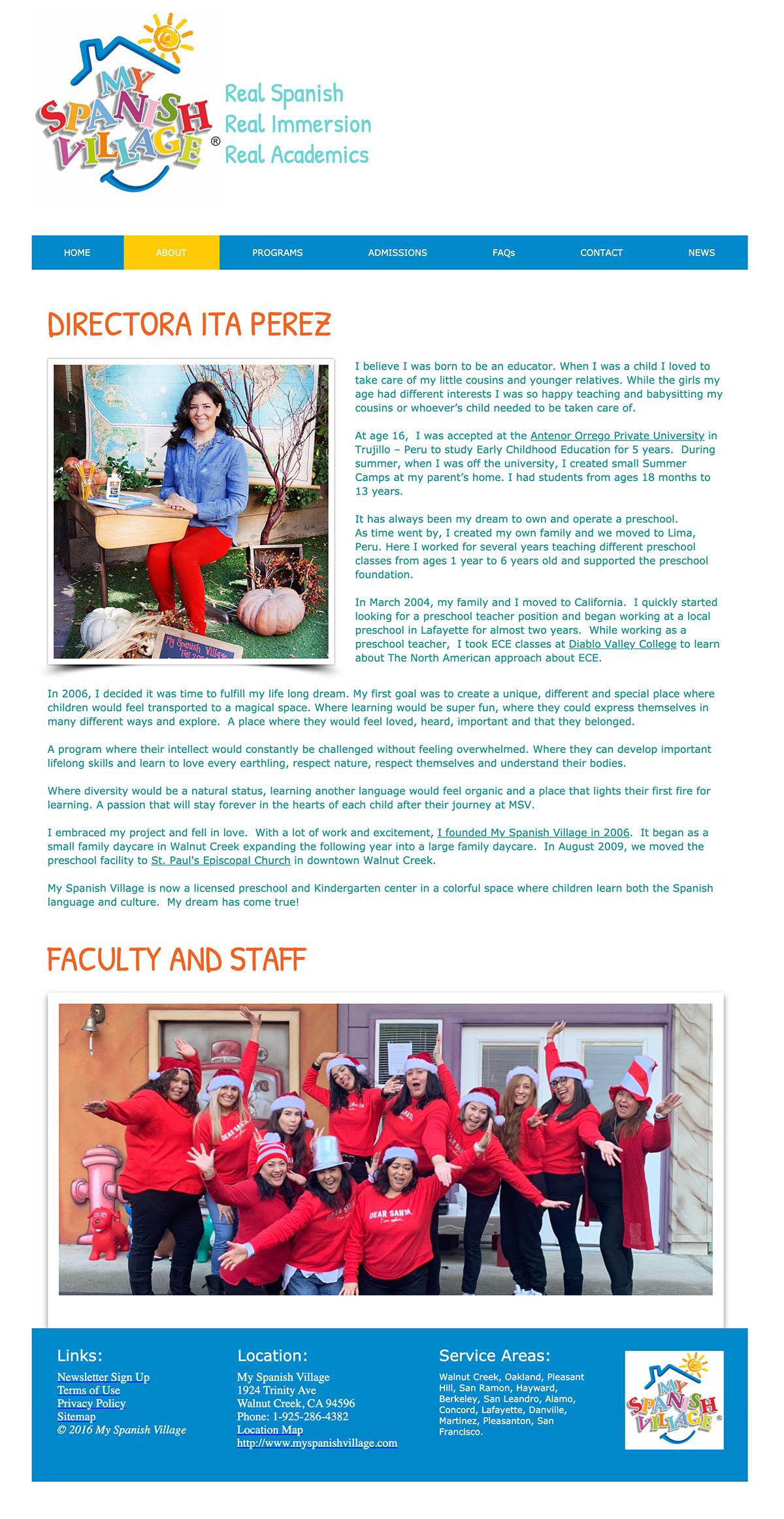 Team MySpanisVillage preschool website design