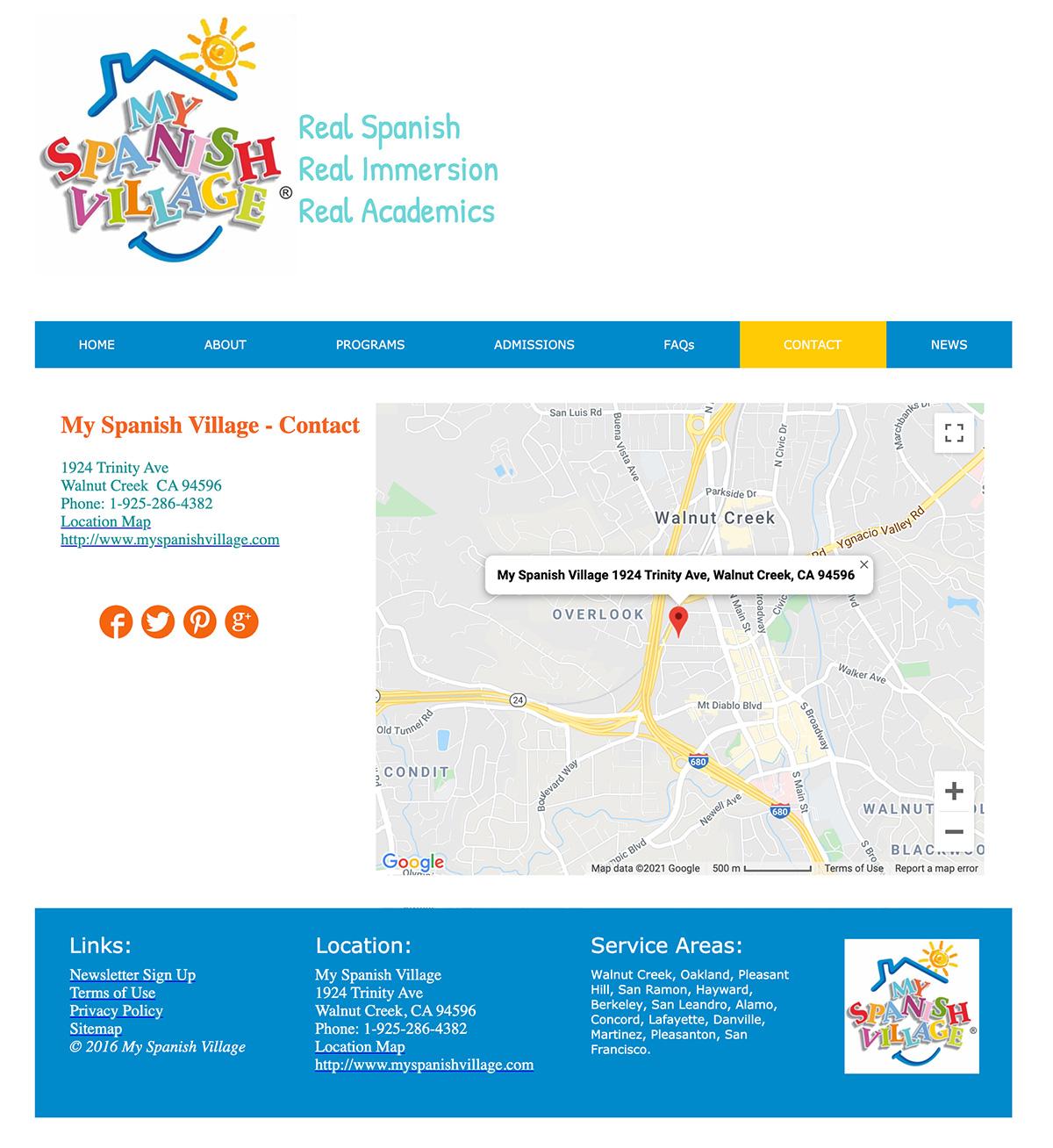 Contact My Spanish Village school web design