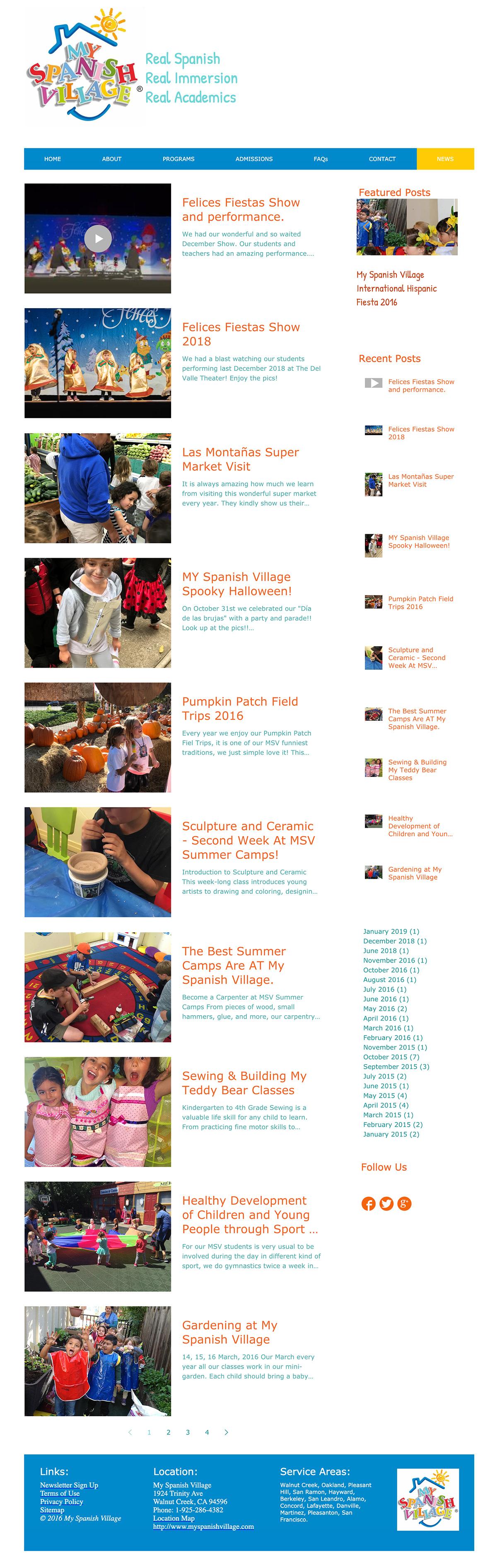 Blog My Spanish Village school seo website design
