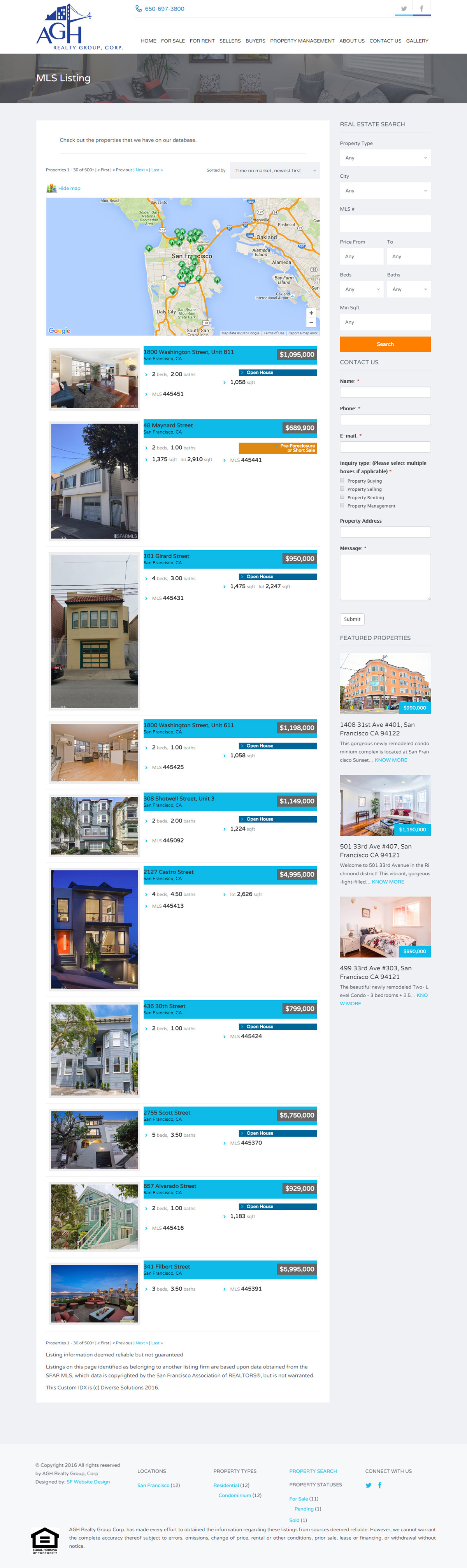 AGH Realty Group real estate MLS integration web design