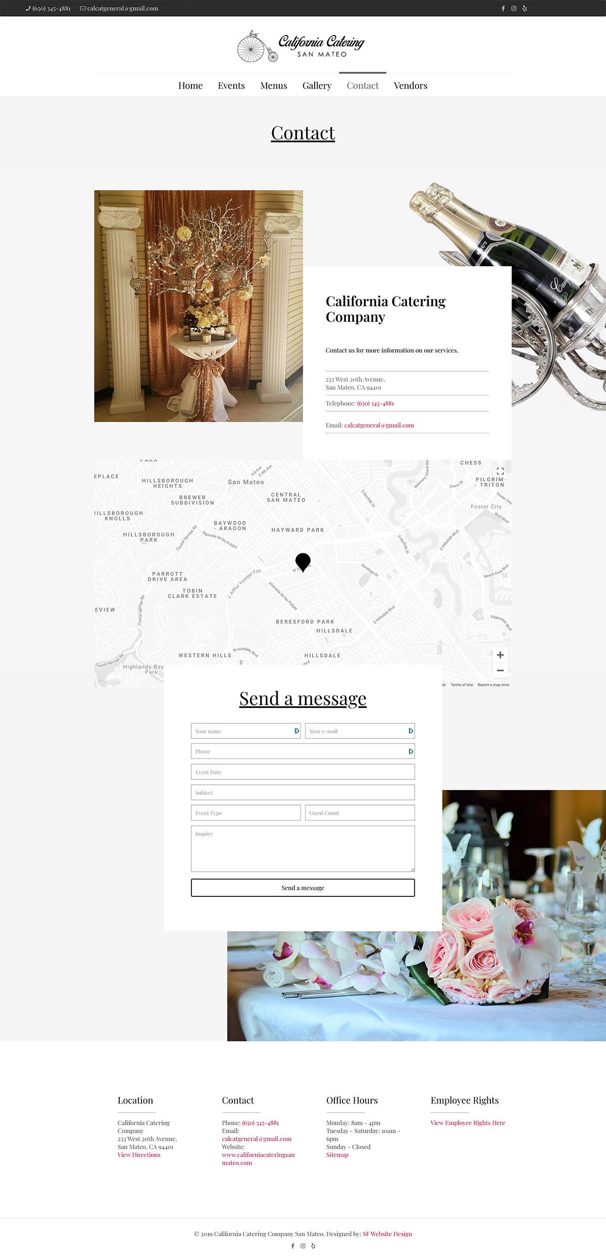 Contact - California Catering San Mateo - Event Web Design