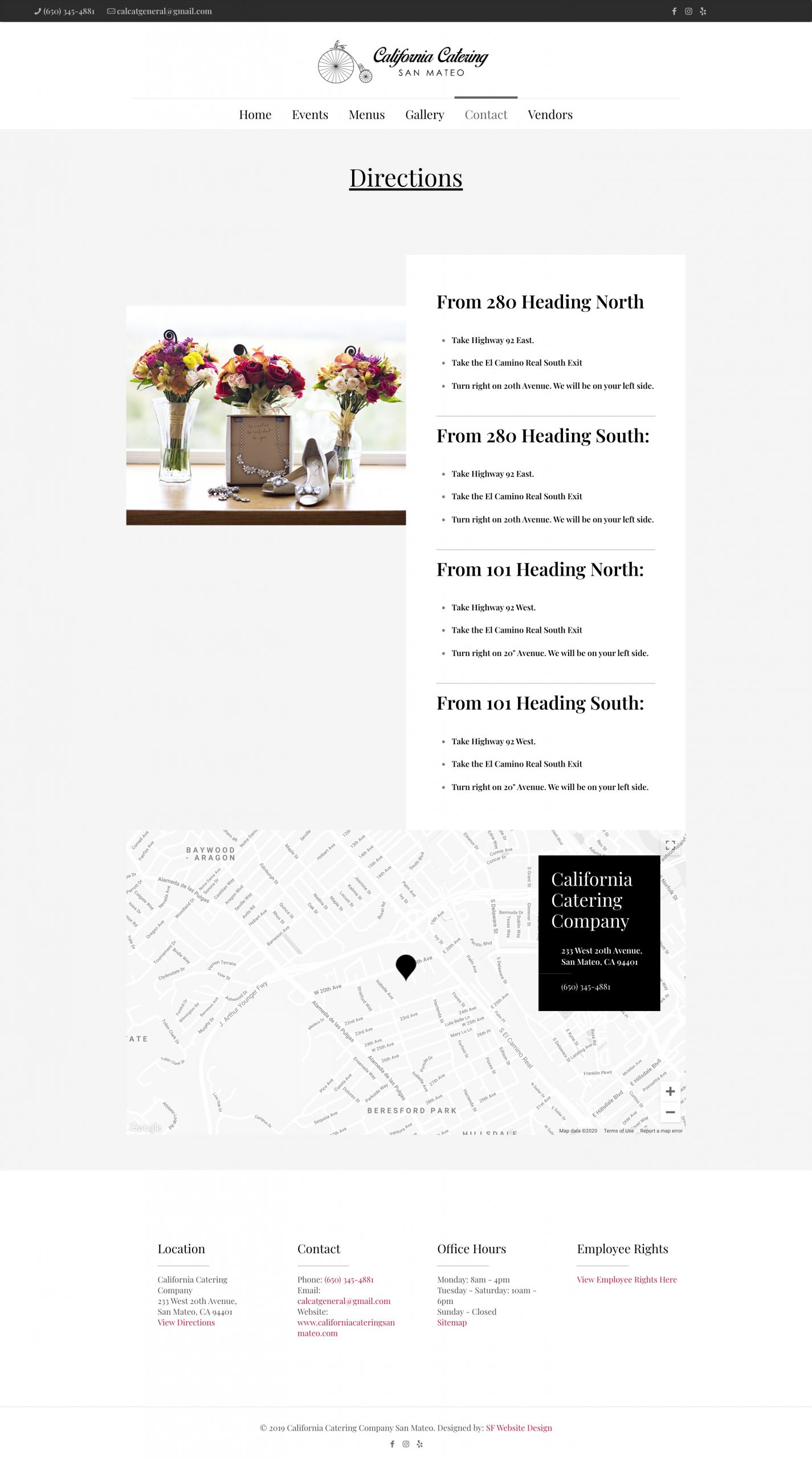 Directions to California Catering San Mateo - Weding Website Design