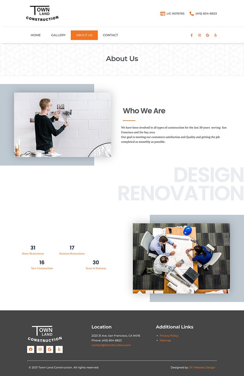 Construction Web Design About Page