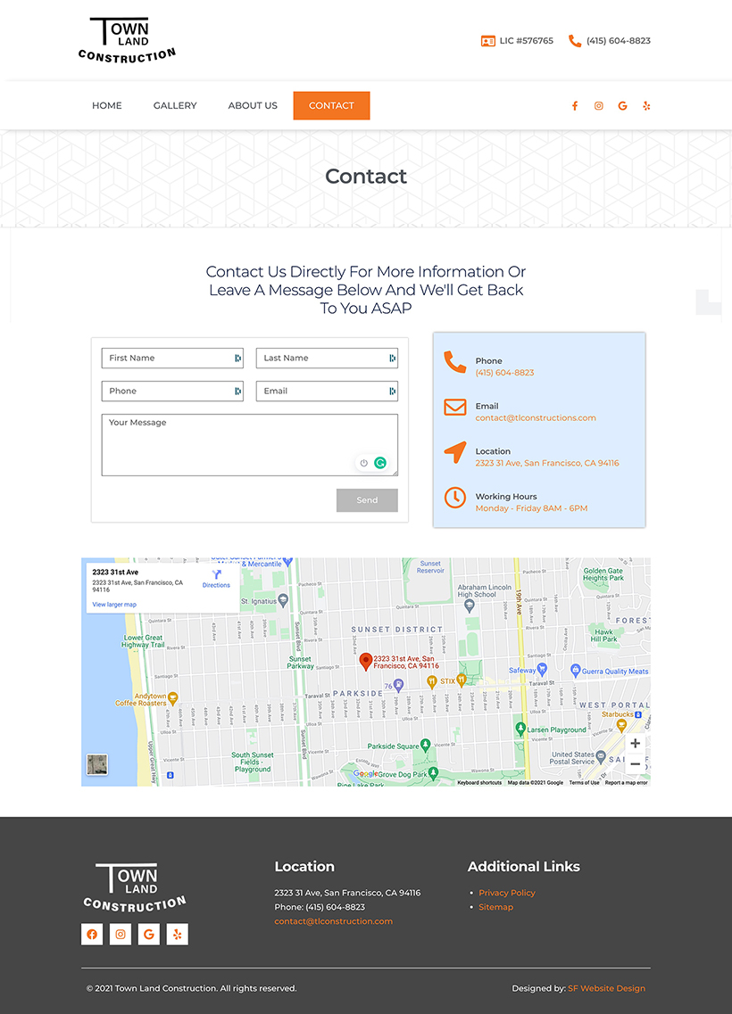 Construction Web Design Contact Page Layout