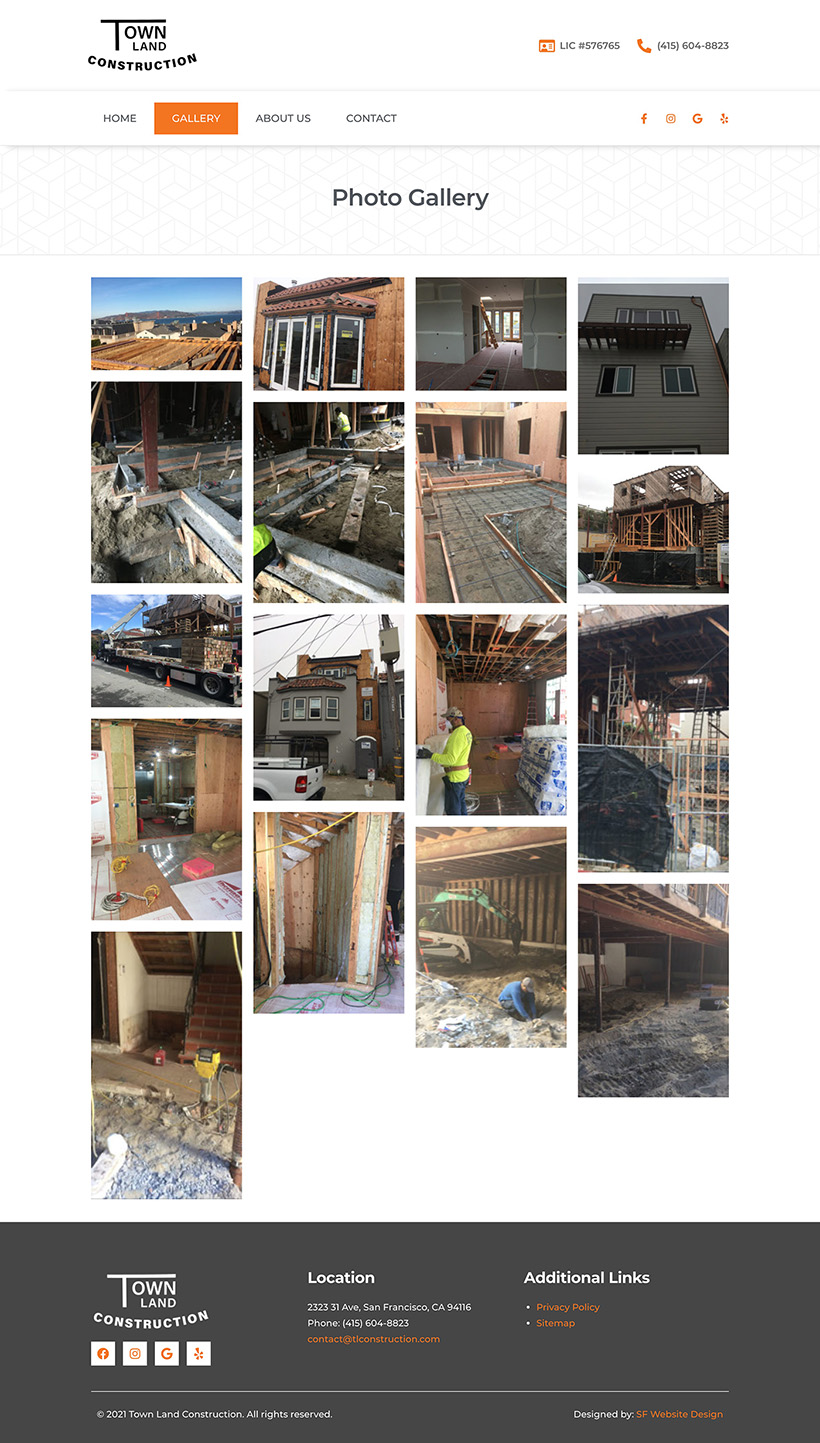 Construction Gallery Page Design